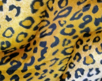 58/60''inches wide_Velboa Animal Print Faux / Fake Fur jaguar _brown_ Fabric By the Yard