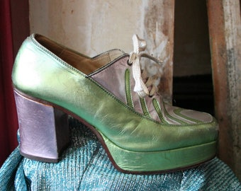 Very rare men's vintage Italian-made 70s glam-rock/disco platform shoes, UK size 8