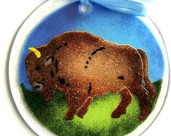 "Bison Buffalo Suncatcher Ornament fused glass 4.5"" diameter"
