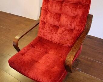 Red velvet button-back chair