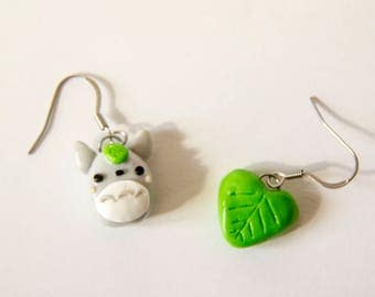 Totoro My neighbor Totoro my Neighbor Totoro, earrings, earrings, fimo, polymer clay, polymer clay