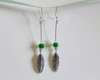 Feather dangle earrings - dark green bead
