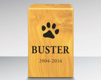 Custom Simplicity pet urn with emblem