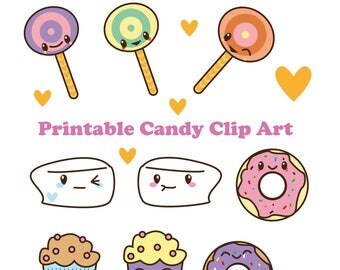 Cute Candy Clipart, Kawaii Sweets, lollipops, marshmallow