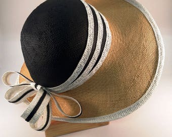 Black and Tan Wide Brim Cloche