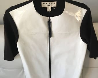 Marni Leather small/ petite short sleeve sweater (black and white)