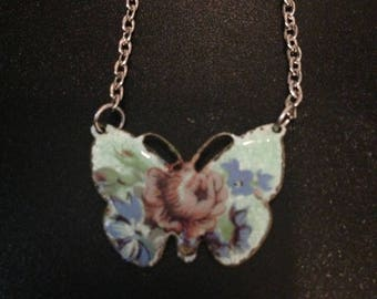 Vintage butterfly necklace on silver tone chain