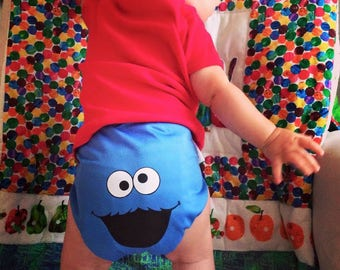 Cookie Monster Diaper Cover - Blue Diaper Cover