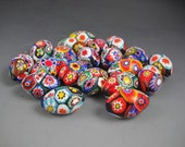 Large Oval Vintage Millefiori Colorful Loose Beads Lot of 20 25mm x 14mm