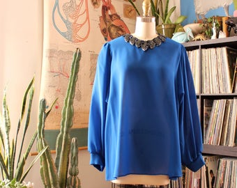 "plus size vintage blouse . sheer cobalt blue 1980s blouse with black sequin collar . 46"" chest, 52"" hip . NWT deadstock vintage volup top"
