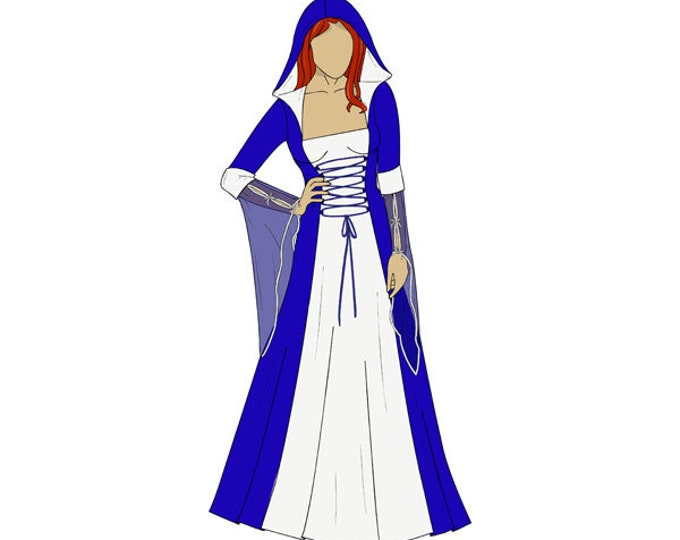 Featured listing image: Hooded Medieval Dress/Costume Sewing Pattern - Sizes 8-22 UK - Download PDF