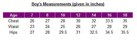 Boys size chart - UK sizes