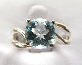 8mm Round Sky Blue Topaz Soitaire Split Shank Ring in Sterling Silver