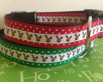 Large Reindeer and Polka Dots Holiday Dog Collar