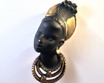 Vintage African Native Pin / 1940's BLACK Enameled Pin / NUBIAN PRINCESS Brooch