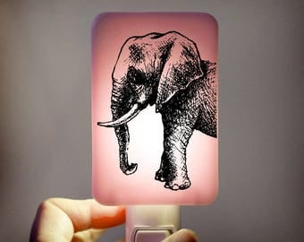 Elephant Nightlight on Powder Pink Fused Glass Childrens Nightlight - Gift for Baby Shower or Nursery - pastel pink