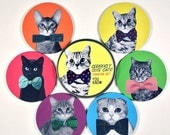 SALE til cyber monday Seriously Cute Cats coaster set all kinds of kitties in bow ties FUNNY 6 six coasters in matching tin