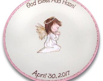Angel Baby Baptism Personalized Signature Platter