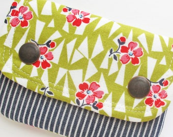 Small Wallet | Floral and striped fabric two pocket mini wallet to use for business cards, coin purse, rewards cards, etc.