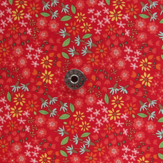 FAT EIGHTH Farm Fun Red Floral Quilting Cotton Fabric