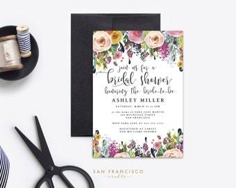 Bridal Shower Invitation INSTANT DOWNLOAD |  Printable Bridal Shower Invite | Floral, Whimsical, Garden |  Ashley Collection  | PDF File