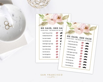 He Said She Said - Bridal Shower Game - Pink, Blush Pink, Roses, Gold Calligraphy - Tiffany Collection - Instant Download PDF file
