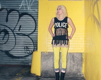 One of a Kind* New York Couture POLICE Fringe Crop Top
