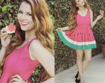 Limited Edition New York Couture WONDERLAND Collection Ombre Pink Mouth-watering WATERMELON Dress