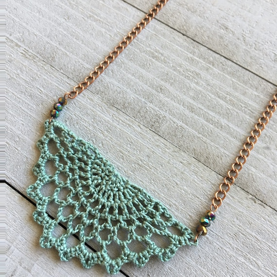 """Crochet Necklace Boho Chic Necklace Crocheted Statement Necklace Pendant Festival Jewelry Gift for Her 19"""" Chain + Sagebrush Crochet"""