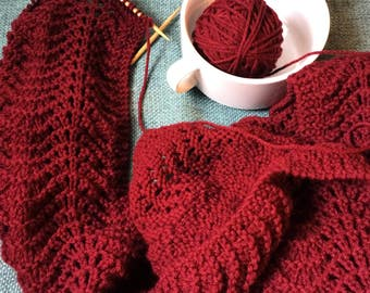 Fan and Feather Maroon with Grey Trim Scarf