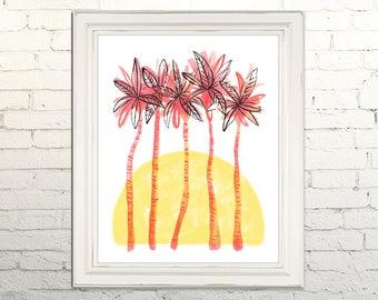 PALM TREES Digital Art Print Watercolor Illustration Beach Summer Nursery Art Clipart Gallery Tropical Beach Leaves Sunset Vacation Cabana