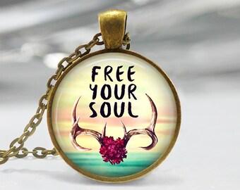 Phrase Art Pendant, Watercolor Pendant, Flower Art Necklace, Floral Art Jewelry,  Boho Flower Glass Pendant, Bronze, Silver Art Pendant, 197