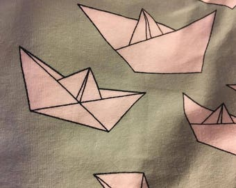Green Paper Boats knit fabric