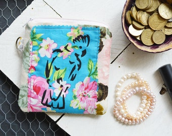 Screen printed Pink Galah Small Zipper Bag. Zipper Pouch. Key Chain. Credit Card Change Wallet Holder. One of a kind Gift.