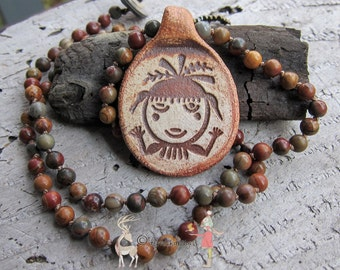 SALE Earth Goddess Tewa || Hopi Symbol | Stoneware Clay Pendant | Red Creek Jasper Stones | Earthy | Organic | Hand-knotted Necklace | OOAK