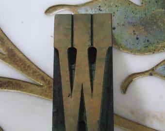 Letter W Antique Letterpress Wood Type Printers Block