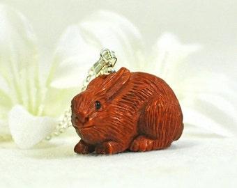 Ojime Rabbit Necklace Sasha - Bunny Necklace - Rabbit Jewelry - Bunny Rabbit Pendant - Netsuke Bunny Pendant