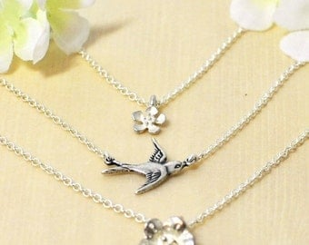 Layered Bird and Flower Necklace Spring in Flight - Bird Necklace - Flower Necklace - Bird Jewlery - Layer Necklaces