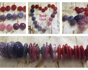 Lampwork Disc Beads, Mix of Reds, Purples and Pinks