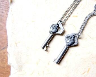 Strawberry Patch Key Necklace - antique skeleton key necklace - vintage key with pewter strawberry charm necklace - botanical jewelry