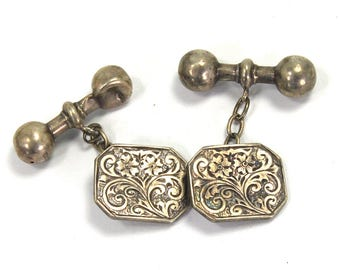 Antique Edwardian SOLID Sterling Silver Cufflinks HALLMARKED English BIRMINGHAM Engraved Floral Motif Scrolls Flowers 1909