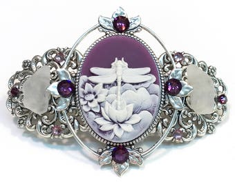 Cameo Hair  Barrette Purple and White Dragonfly  with Beach Glass and Crystal Accents