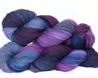 Handdyed  superwash Merino wool sock weight yarn, 365m/100g hand dyed