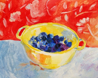 Blueberries in a yellow bowl print of original painting