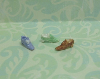 Dollhouse Miniature Set of Three Collectible Shoe Figurines