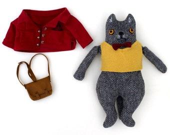 Kitty boy wool doll Grey Herringbone plush