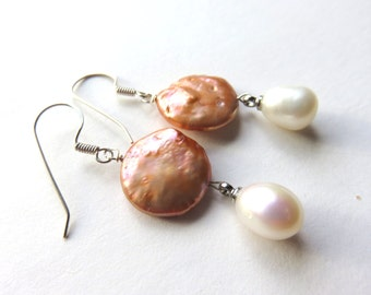 Apricot Coin Pearl Earrings, Round Freshwater Pearls with Pearl Drops, Dainty Boho Pearl Earrings, White Drop Earrings,Silver Pearl Earrings