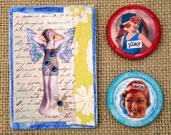 Beach Beauties Magnets Retro Vintage Whimsical Mixed Media Recycled Upcycled Repurposed Game Card Magnets Refrigerator Magnets Original Art