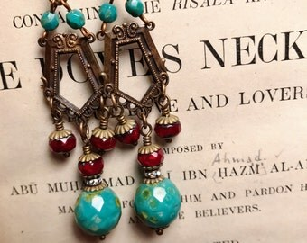 Lorena Antique Brass Vintage Style Art Nouveau Inspired Beaded Chandelier Earrings in Red and Turquoise