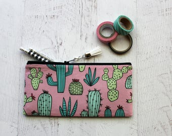 Pink cactus zip pouch - pencil bag - cactus pouch - plant lovers gift - palm springs - zipper pouch - planner pouch - cactus - summer vibes